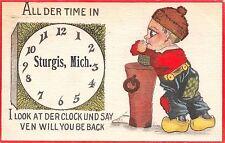 """All Der Time"" in Sturgis Michigan~I Look at Der Clock~Cobb Shinn Boy~1913 PC"