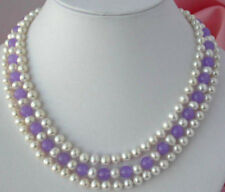 3Rows 7-8mm Real Natural White Akoya Cultured Pearl & Alexandrite Beads Necklace