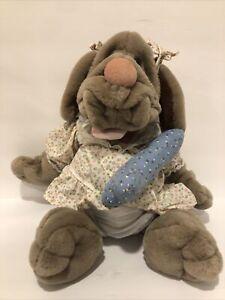 "Ganz Wrinkles Vintage Plush Puppet Female Dog w/tag Dress Bone Numbered 17"""