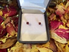 Natural Mozambique Garnet square 3mm sterling silver claw stud earrings 🇲🇿