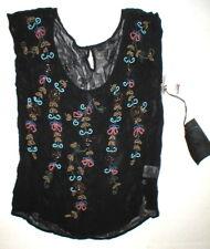 New Womens Designer True Religion Black Top Short Sleeve Beaded Viscose NWT XS