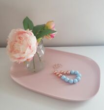 Handmade Acrylic Necklace Matte Pastel Pale Blue w/ Rose Gold Feature Beads