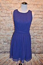 Modcloth One Moment, Pleats Dress NWT M Chiffon  Pleated bodice & waist blue
