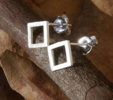 Brushed Finish Square Studs Fine Sterling Silver New Jewelry Shipping Included