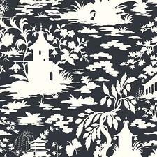 Wallpaper White Raised Ink Asian Toile Silhouettes on Black Pagoda Crane Floral
