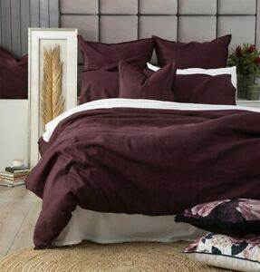 Renee Taylor Cavallo 100% French Linen Quilt Cover set- Plum