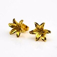 24k Yellow Gold Filled Earrings 15mm Lily Flower Stud GF Charm Fashion Jewelry