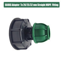 """IBC ADAPTER (S60X6 2"""" Coarse Thread) to 20/25/32 mm  MDPE Compression Fitting"""