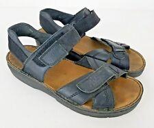 Rieker 40 Black Leather Ankle Strap Comfort Sandals Men's Sz 7 Women's 9.5