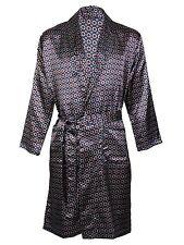 Men's Satin Dressing Gown Robes Kimono Silky Wrap L -Navy