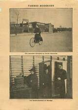 Women Nurse Bicycle Germany /Suffragette voters Ballot Norway  1909 ILLUSTRATION