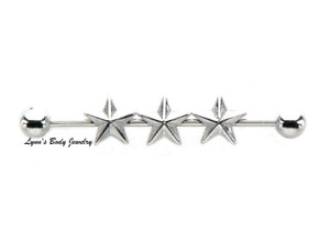 """Triple Nautical Star * 14g 1 3/8"""" Surgical Steel Industrial Cartilage Barbell"""