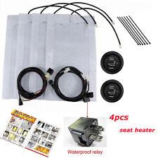 4pcs Cars Carbon Fiber Heated Cushion Seat Heater Pad Hi-Off-Lo Switch Kit 12V