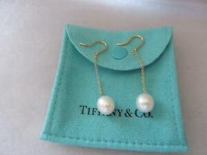 Tiffany & Co. 18K Gold Cultured Pearl Dangle Drop 9.5mm-10mm Earrings