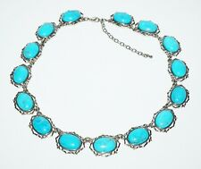 Vintage Silver Colored Necklace w. 15x Oval Turquoise Cab Accents (SaR)#222