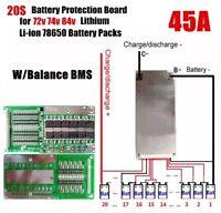 72V 45A 20S Li-ion Lipolymer 18650 Battery BMS Balance Protection PCB 84V E-bike