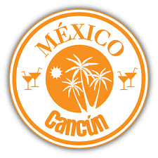 "Cancun Mexico Travel Stamp Car Bumper Sticker Decal 5"" x 5"""