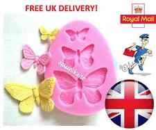 3 x Butterfly Cake Silicone Mould Fondant Topper Decorating Lace Craft