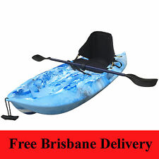 1.8M Kids Kayak Single Sit-on Backrest Seat Paddle Leash Blue Camo Brisbane Only