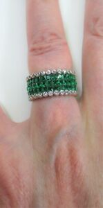 LAB EMERALD & CZ INVISIBLY SET ETERNITY RING sz# 6 WHITE GOLD over 925 S. SILVER