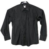 Wrangler Mens Large Black Stripe Long Sleeve Pearl Snap Button Up Western Shirt