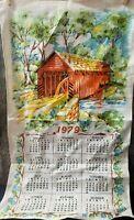 Vintage 1979 Tea Towel Calendar Wall Hanging DISH Coffee Tole COVERED BRIDGE