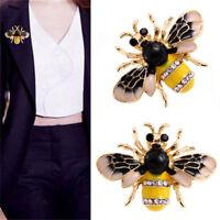 Women Delicate Enamel Little Bee Crystal Rhinestone Collar Pin Brooch Jewelry HF