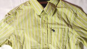 Abercrombie Boys Long Sleeve Button Down Striped Shirt Size L