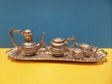 Antique Vintage Dollhouse Miniature Silver Toned Tea Set