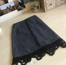 Topshop Check Patterned Mini Skirt With Lace Detail Hem. Size 12
