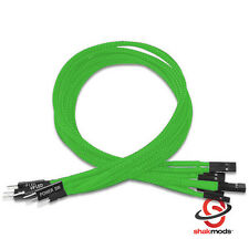 Shakmods Front Panel Green Sleeved Power Reset HDD LED Extension Cable 30cm UK