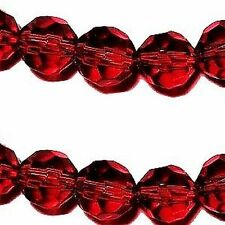 200 x 4mm Crystal Glass Faceted Round Beads - Dark Red - A3404