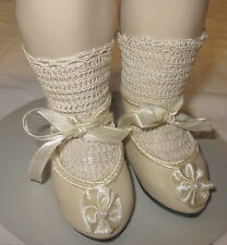 """French antique style shoes for French, German bisque doll 3 15/16"""" long sz1"""
