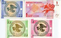 KYRGYZSTAN SET 4 PCS 1 10 50 TYIYN 1 SOM ND 1993 P 1 2 3 4 UNC
