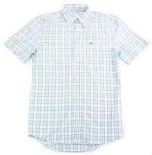 Lacoste Shirt Short Sleeve Blue Check Shirt Size 38 Small to Medium Mens RRP £99