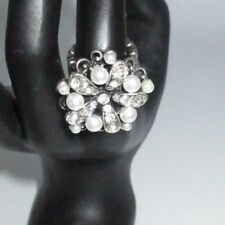 Stretchy Statement Ring Rhinestone Crystal Faux Pearl Flower Silver Tone Shiny