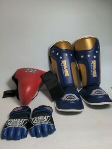 LOT of Material Arts Sparring Gear Karate UFC Bundle Gloves padded cup leg guard
