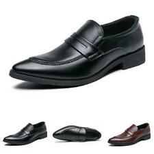 Men Business Leisure Faux Leather Shoes Pointy Toe Oxfords Slip on Party 38-46 D