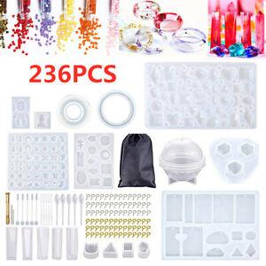 236Pcs Silicone Keyring Pendant Mold Resin Mould Kit Casting Craft Making DIY