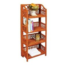 4 Tier Folding Wicker Shelves Storage Shelf Bathroom Kitchen Rack Space Shelving