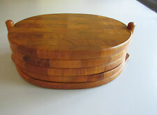 "70s : Set of  4 Teak Plates with Teak Stand  DIGSMED Denmark  9"" ½ x 3"" ½ x ¾"""