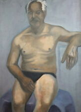 VINTAGE EXPRESSIONIST SITTING MAN PORTRAIT OIL PAINTING