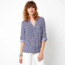 Blouse chemisier chemise liquette casual imprimé motif bleu blanc taille M 38/40