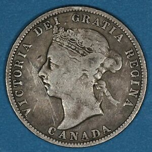 1893 Canada 25 Cents silver coin, VF, KM# 5, key date