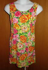 JAMS WORLD Ladies Jr Floral Zipper DRESS Sz 11 Sleeveless Rayon Bright Pockets
