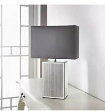 Silver Glitter Sparkle Mirrored Glass Table Lamp With Grey/silv Rectangle Shade