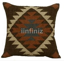 Indian Wool Jute Geometric Pattern Brown Cushion Cover Decor Kilim Sofa Pillow