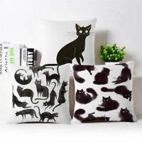 Black cat Cotton Linen Fashion Throw Pillow Case Cushion Cover Home Sofa Decor