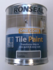 Ronseal One Coat GRANITE GREY SATIN Tile Paint - 750ml - TRANSFORMS TILES