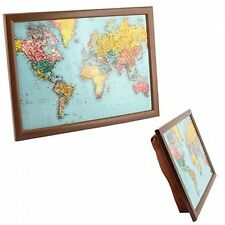 CUSHION PADDED WORLD MAP PORTABLE READING LAP TOP TRAY TABLE BREAKFAST DINNER